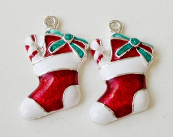 Red Boots Stocking Stuffers - Christmas Stocking - Christmas Silver Charm Pendant - Earrings Components - 10 PCS - Metal Christmas Findings
