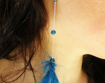 Handmade Ear Cuff with Blue Feather Glass Beads and Silver Chain