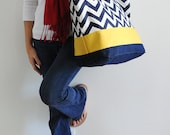 EXTRA Large Beach Bag // Tote in Navy Chevron with Yellow Accent, Monogram Available