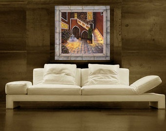 """Venice Italy, Courtyard, 24""""x24"""", Stretched Canvas Painting"""