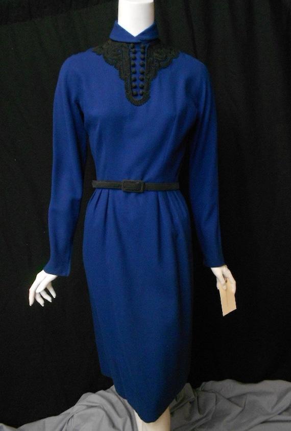 Vintage 1960s Wiggle Dress Blue Sheath Dress Black Trim Joan Mad Men Small