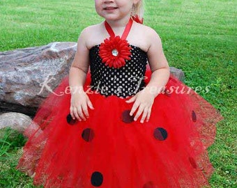 Ladybug Crochet Tutu Halter Dress - Size 2T to Girl's Size 6 - Can Be Worn Different Ways