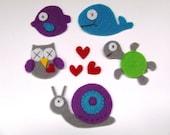 felt appliques, felt animals, felt owl, felt fish, felt turtle, felt whale, felt snail, fabric appliques