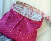 Diaper Bag/ Girls/ Hot-Pink- White Dots/ Pink Toile