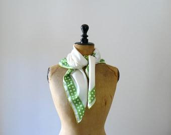 Vintage silk scarf. 60s white silk scarf. palm tree print scarf
