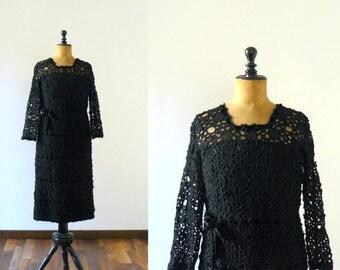 Vintage crochet dress. wool crochet dress. 1950s black dress