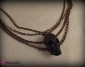 Steampunk Large Black Resin Skull Pendant Multi Strand Necklace Jewelry - Perfect for Halloween