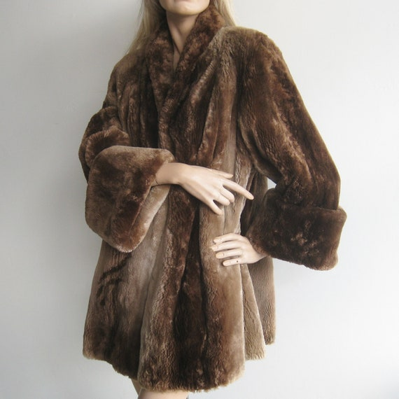 Glamour Gowns Tagged Size S The Deco Haus: Vintage 40s Fur Coat Sheared Brown Beaver Fur Art Deco Glamour
