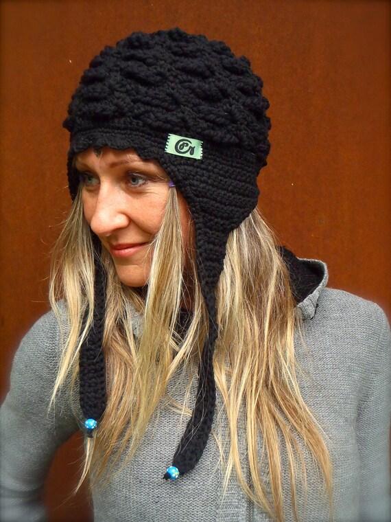new Black EARFLAP HAT BOHO eclectic hat Crochet cotton Aviator Hat scalloped hat Pilot hat Chunky hat