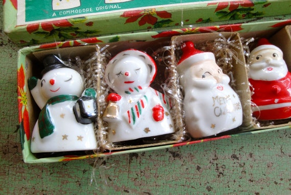 Vintage Christmas Card Place Settings Holders Snowman Angel Santa Elf