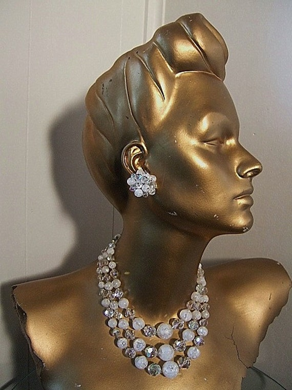Sparkling Ice 1950's Necklace Earring Set Vintage Laguna Cracked Ice AB Crystal Sparkle Necklace Mid Century Mad Men Cocktail Party Wedding