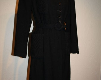 Air Raid Sirens Take Cover - Vintage 1939 WWII Black Textured Wool Princess Coat w/Kangaroo Pockets