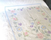 REDUCED.vintage quilt.handmade.all cotton.crosstitched.shabby chic.rustic.farmhouse.coverlet.tessiemay