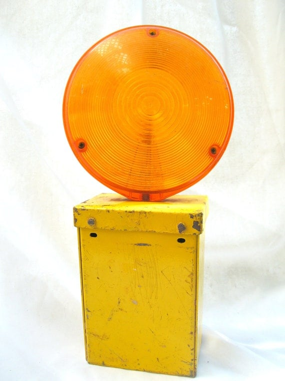 RESERVED - Vintage Light-Orange-Yellow-Warning-Lamp-Battery-Road-Construction Light from Tessiemay