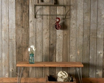 "Reclaimed Wood Bench w/ Hairpin Legs (1.65"" Standard top), Ships Fast  (4ft  x 11.5"" w x 18""h)"