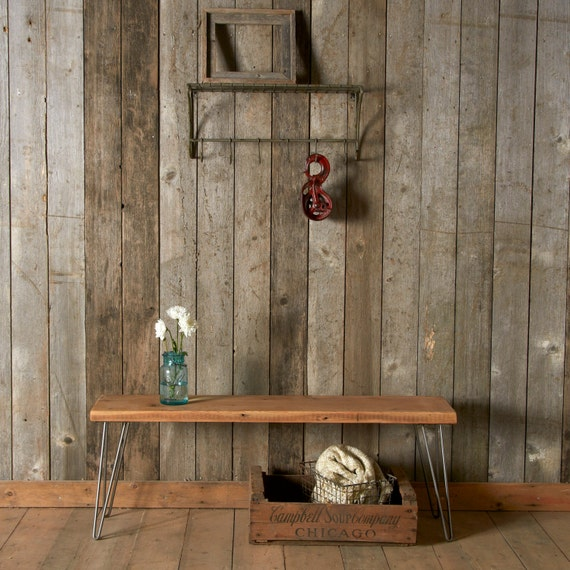 """Reclaimed Wood Bench w/ Hairpin Legs (1.65"""" Standard top), Ships Fast  (4ft  x 11.5"""" w x 18""""h)"""