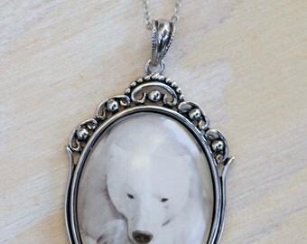 Polar Bear Necklace, Photo Jewelry, Silver Necklace, Nature Jewelry, Nature inspired Jewelry, Polar Bear Jewelry,  Animal Necklace