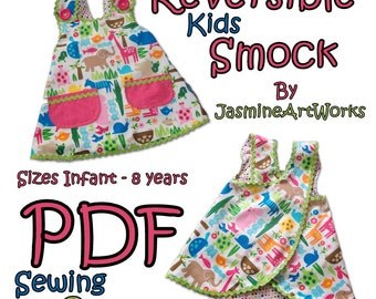 Reversible Kids Smock Apron PDF Sewing Pattern