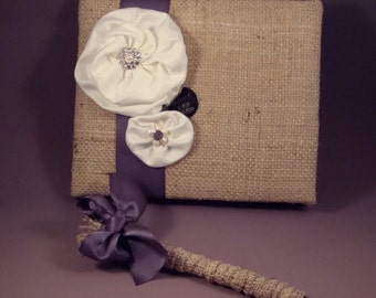 Rustic Burlap Silk and Pearl Wedding Guest Book and Pen Set