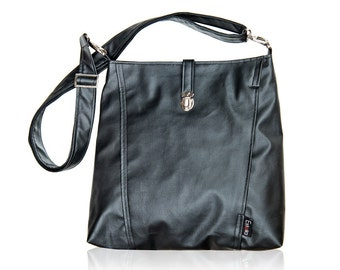 black Backpack and Messenger bag, 2 in 1, Vegan bags, Laptop 13 shoulder bag, Large size bag - Leah