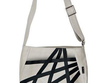 Vegan Leather Shoulder Bag in light Gray. Faux leather Large urban shoulder bag - Micky