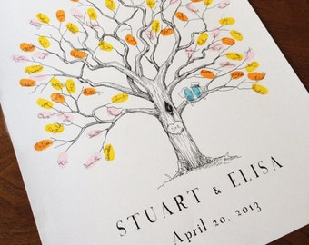 Fingerprint Tree, Wedding Guest Book Alternative, Baby Shower Guest Book, Small Twisted Oak Tree, Original Design, Thumbprint Tree
