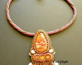 Orange Sea Sediment Jasper Beadwork Necklace