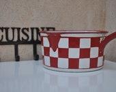 Stunning French Enamel Saucepan - Red and White Check - Lustucru