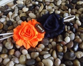 Denver Broncos Baby Headband Blue & Orange Double Flower Headband -  Newborn - Infant - Toddler - Girl - Adult - Photo Prop