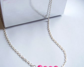 Pink fuchsia dainty necklace