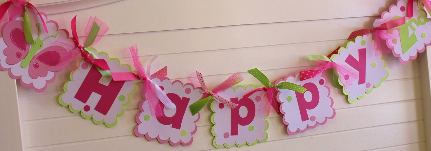 Butterfly happy birthday banner made to by pocketfullofglitter - Guirlande halloween a faire soi meme ...