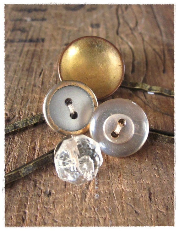 Vintage Button Bobby Pins, Gold and Pearl Hair Pin Set, Shabby, Chic, Eco Friendly, Retro Glamour Hair Accessories