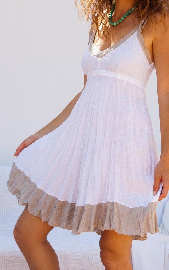 Short  Crinkled Linen Dress White with Natural Trim