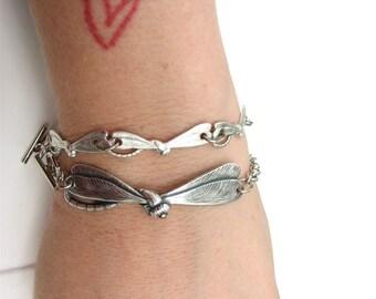 dragonfly bracelet - large - silver