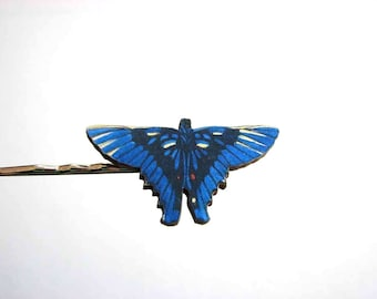 batwinged butterfly hairpin blue butterfly bobby pin / hair grip