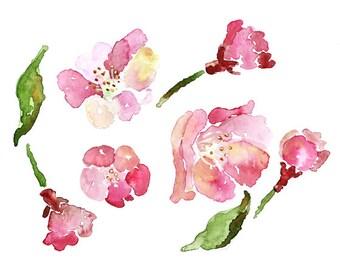 Cherry Blossom Print,  Pink Bedroom Art, Cherry blossom painting, Watercolor Flowers, Spring Decor, girl nursery decor, art for girl's room