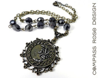 Victorian Jewelry, Victorian Button Necklace Antique Cut Steel Hematite Silver Grey Flower Button Necklace with High Victorian Design