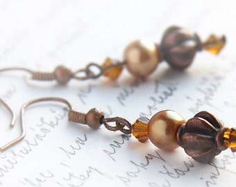 Antique Copper Earrings, Metal Bead Earrings, Burnt Orange Topaz Swarovski Crystal and Pearl, Rustic Fashion Jewelry, Vintage Inspired