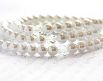 Summer Party Gift White Swarovski Pearl Bracelet Wedding Jewelry Stacking Bracelet Simple Jewelry Minimal Modern Mothers Day Gift for her