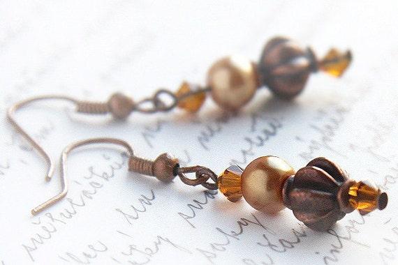 Antique Copper Earrings, Metal Bead Earrings, Burnt Orange Topaz Swarovski Crystal and Pearl, Rustic Fashion Jewelry, Vintage Inspired
