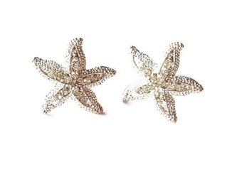 Rhinestone Starfish Earrings Crystal Studs Bridal Jewelry Silver Bride Bridesmaid Nautical Destination Beach Wedding Accessories Womens Gift