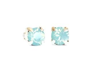 Sea Foam Earrings Mermaid Jewelry Dainty Minimal Crystal Green Studs Bride Bridal Bridesmaids Accessories Beach Weddings Womens Gift For Her