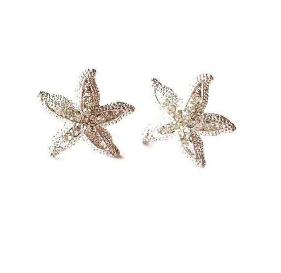 Rhinestone Starfish Earrings Crystal Studs Bridal Jewelry Silver Bride Bridesmaid Nautical Destination Beach Wedding Accessories Womens Gift