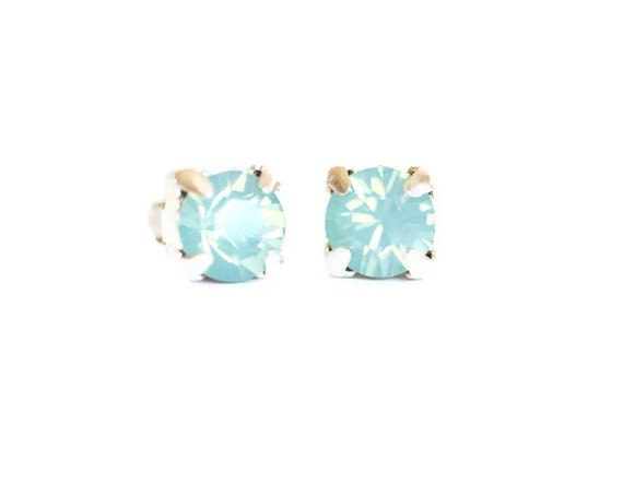 Pacific Opal Earrings Swarovski Crystal Studs Mermaid Mint Green Bridal Bridesmaid Jewelry Beach Weddings Girlfriend Womens Gift For Her