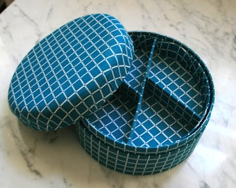 SALE PRICE 80's turquoise geometric fabric covered jewelry, sewing or notions box with tray divider