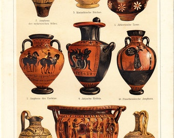1906 Antique vases print, greek pottery, brown and black terracotta