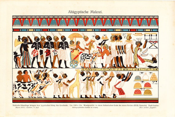 1900s  antique EGYPTIAN ART print, Egyptian frieze mural paintings. Nice fine cromolithograph