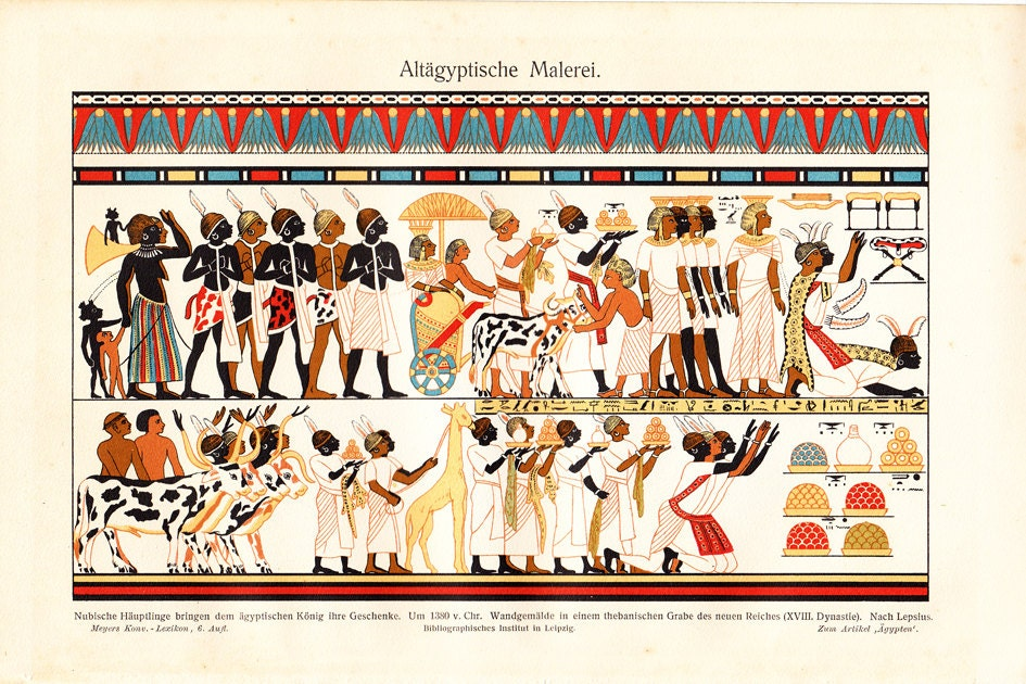 1900s antique egyptian art print egyptian frieze mural for Egyptian mural art