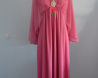 Vintage 70s Bohemian Chic Pink Pastel Long Dress w/ Sheer Overlaid Cape