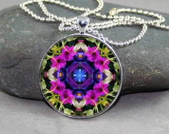 Petunia Mandala Pendant Necklace Sacred Geometry Boho Chic Hippie Kaleidoscope New Age Bohemian Unique Gift For Her Flower Lover Serendipity